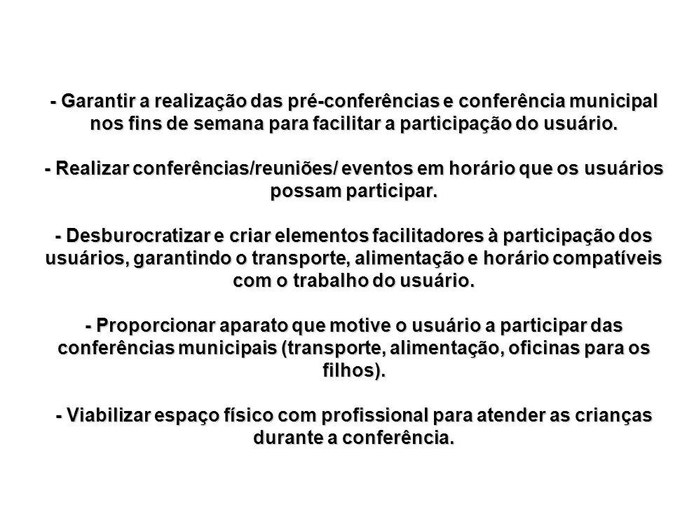 - Garantir a realização das pré-conferências e conferência municipal nos fins de semana para facilitar a participação do usuário. - Realizar conferênc