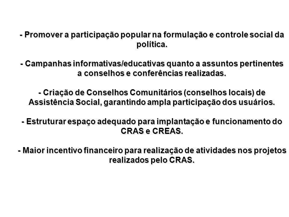 - Promover a participação popular na formulação e controle social da política. - Campanhas informativas/educativas quanto a assuntos pertinentes a con