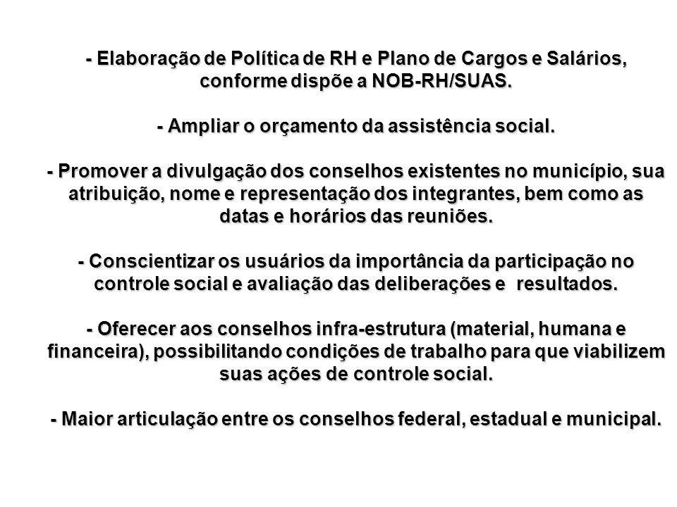 - Elaboração de Política de RH e Plano de Cargos e Salários, conforme dispõe a NOB-RH/SUAS. - Ampliar o orçamento da assistência social. - Promover a