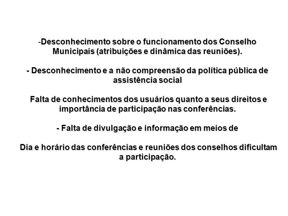-Desconhecimento sobre o funcionamento dos Conselho Municipais (atribuições e dinâmica das reuniões). - Desconhecimento e a não compreensão da polític