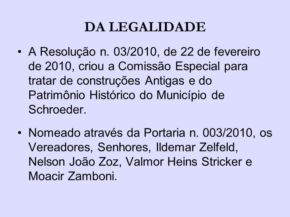 INTRODUÇÃO A Comissão foi criada com a finalidade de auxiliar entidades sem fins lucrativos, constituídas no município de Schroeder, cujas construções encontram-se sem a devida legalização exigida pelos órgãos legais.