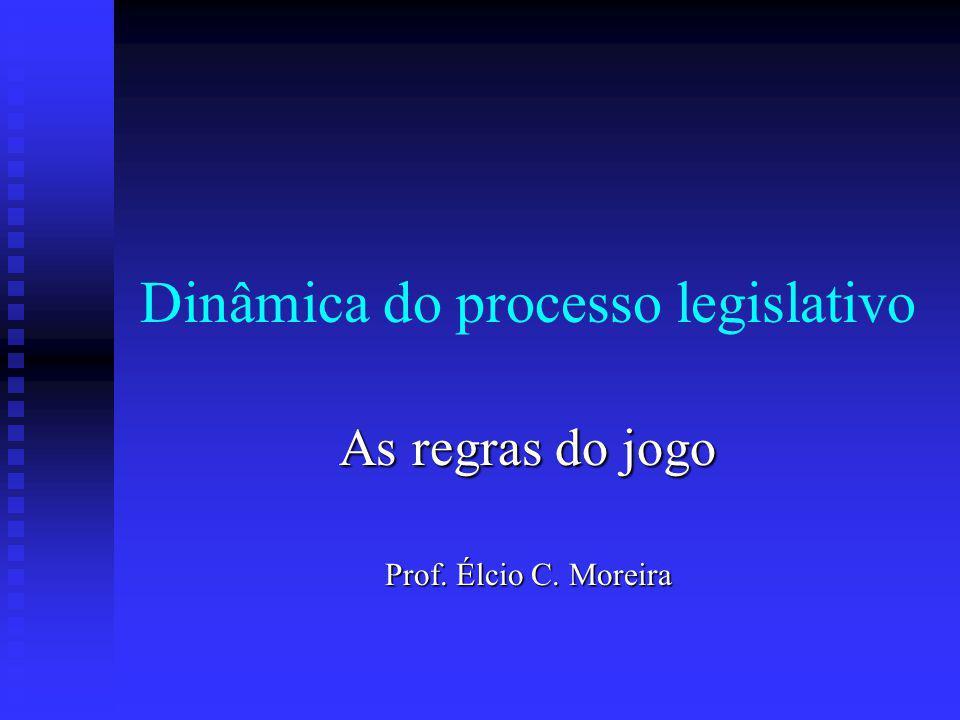 Dinâmica do processo legislativo As regras do jogo Prof. Élcio C. Moreira