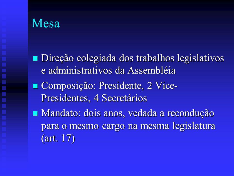 Mesa Direção colegiada dos trabalhos legislativos e administrativos da Assembléia Direção colegiada dos trabalhos legislativos e administrativos da Assembléia Composição: Presidente, 2 Vice- Presidentes, 4 Secretários Composição: Presidente, 2 Vice- Presidentes, 4 Secretários Mandato: dois anos, vedada a recondução para o mesmo cargo na mesma legislatura (art.