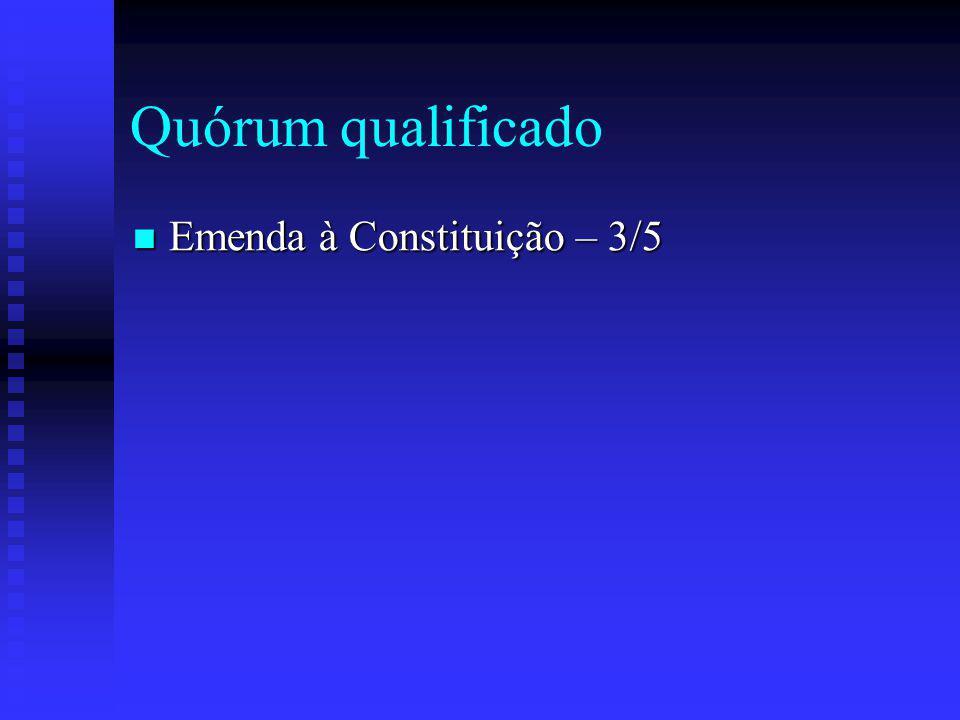 Quórum qualificado Emenda à Constituição – 3/5 Emenda à Constituição – 3/5