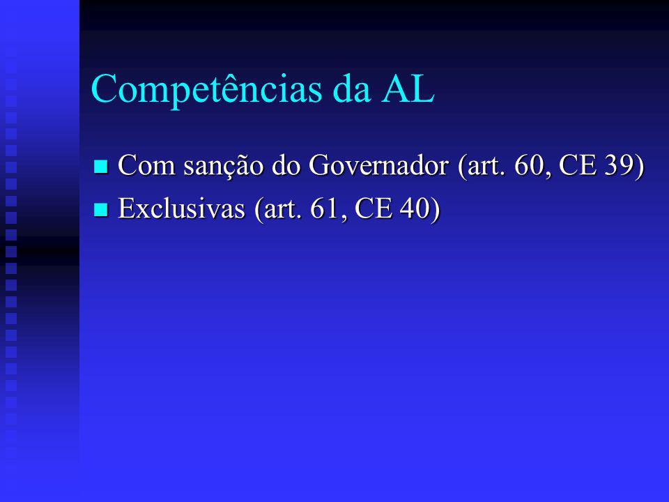 Competências da AL Com sanção do Governador (art.60, CE 39) Com sanção do Governador (art.