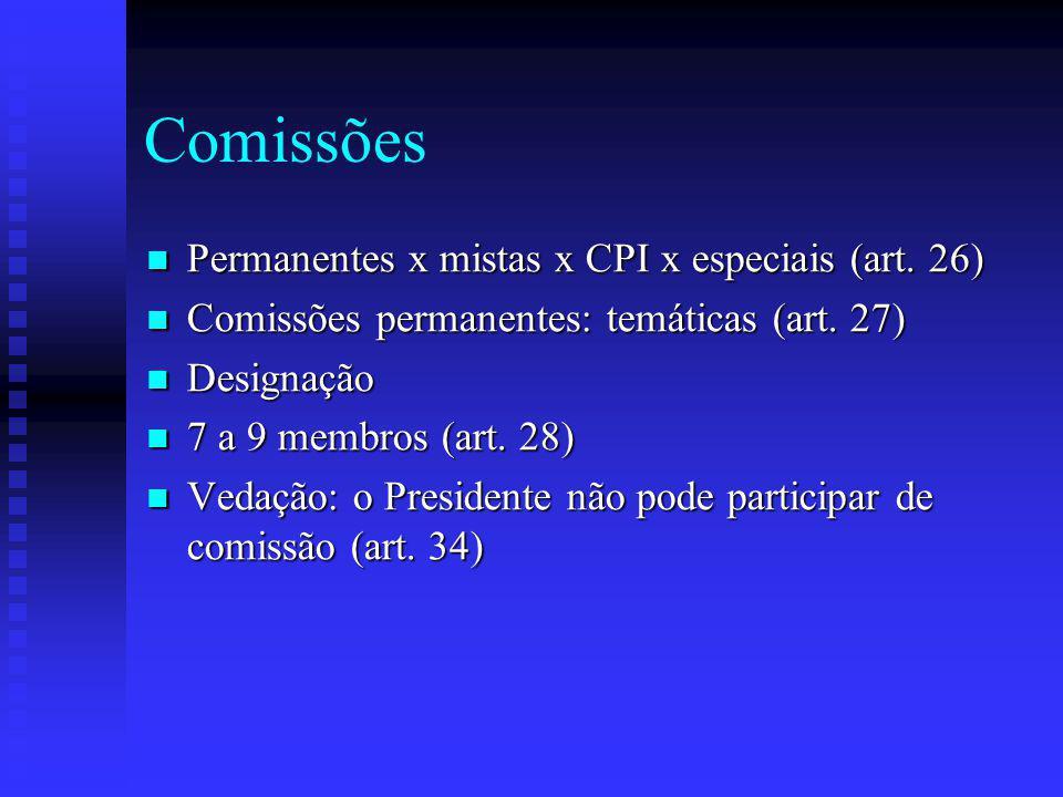 Comissões Permanentes x mistas x CPI x especiais (art.