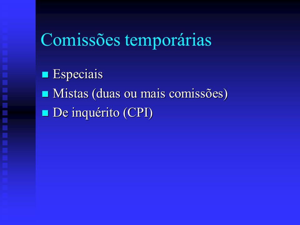 Comissões temporárias Especiais Especiais Mistas (duas ou mais comissões) Mistas (duas ou mais comissões) De inquérito (CPI) De inquérito (CPI)