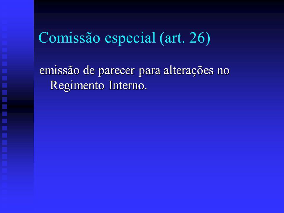 Comissão especial (art. 26) emissão de parecer para alterações no Regimento Interno.
