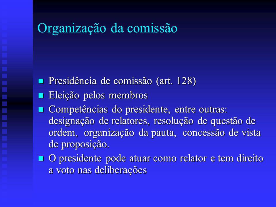 Organização da comissão Presidência de comissão (art.