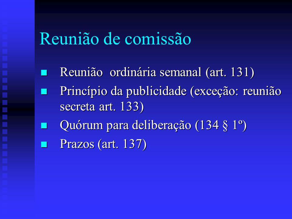 Reunião de comissão Reunião ordinária semanal (art.