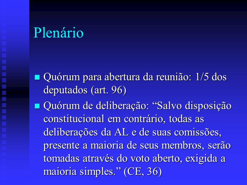Plenário Quórum para abertura da reunião: 1/5 dos deputados (art.
