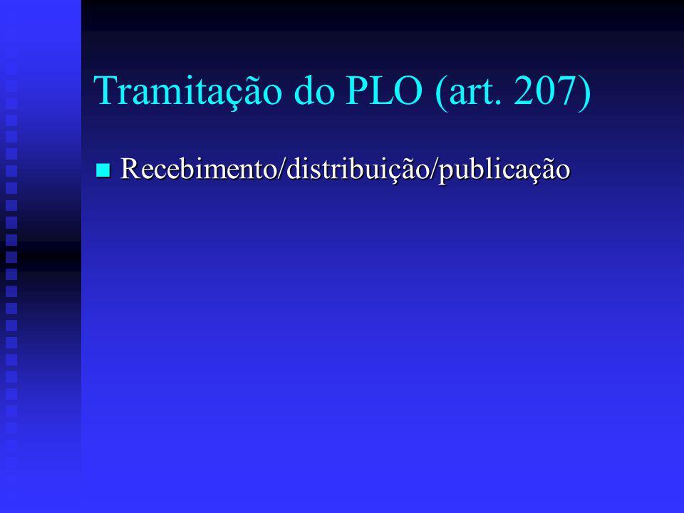 Tramitação do PLO (art.