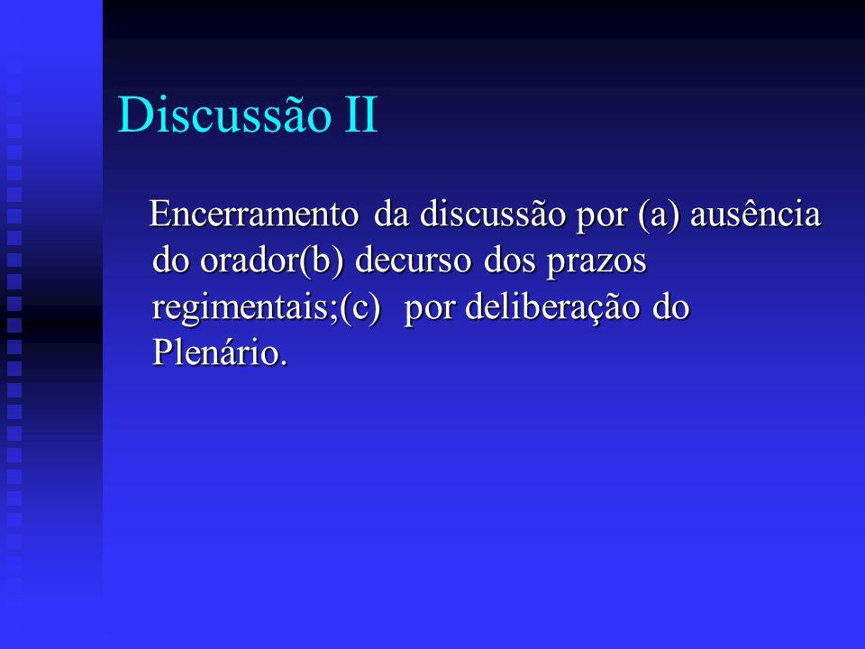 Discussão II Encerramento da discussão por (a) ausência do orador(b) decurso dos prazos regimentais;(c) por deliberação do Plenário.