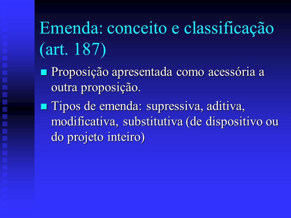 Emenda: conceito e classificação (art.