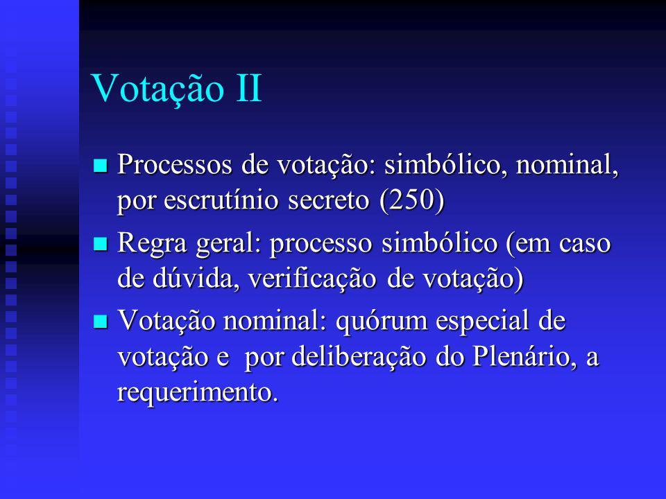 Votação II Processos de votação: simbólico, nominal, por escrutínio secreto (250) Processos de votação: simbólico, nominal, por escrutínio secreto (250) Regra geral: processo simbólico (em caso de dúvida, verificação de votação) Regra geral: processo simbólico (em caso de dúvida, verificação de votação) Votação nominal: quórum especial de votação e por deliberação do Plenário, a requerimento.