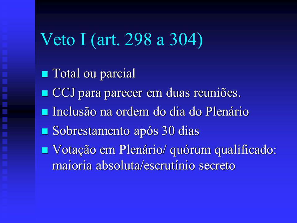 Veto I (art.298 a 304) Total ou parcial Total ou parcial CCJ para parecer em duas reuniões.