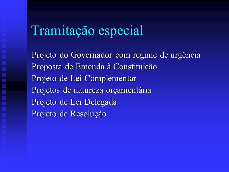 Tramitação especial Projeto do Governador com regime de urgência Proposta de Emenda à Constituição Projeto de Lei Complementar Projetos de natureza orçamentária Projeto de Lei Delegada Projeto de Resolução
