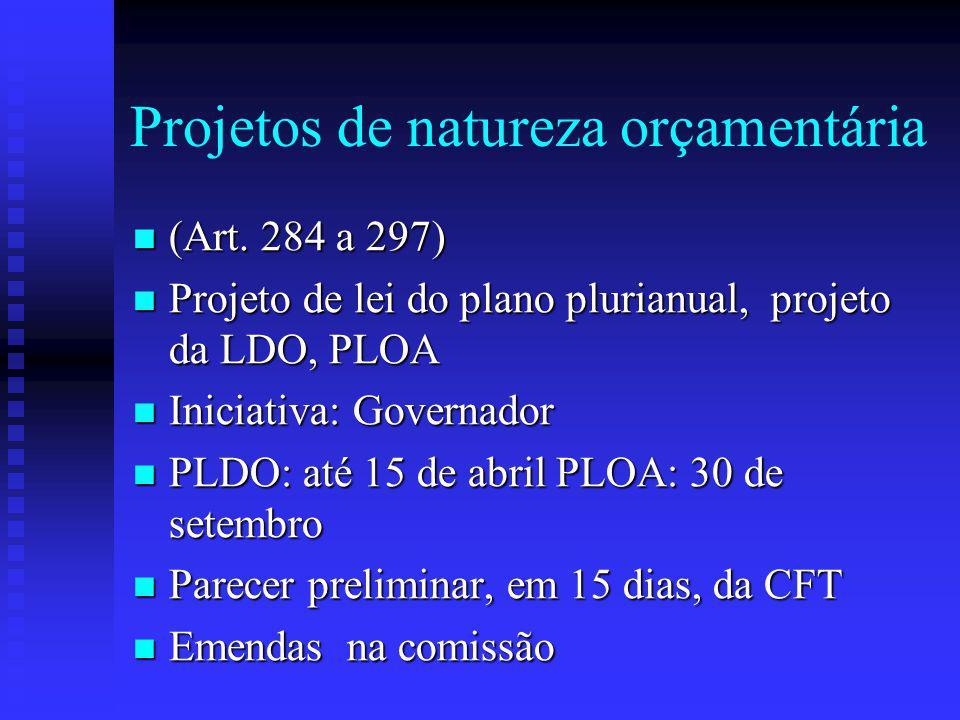 Projetos de natureza orçamentária (Art.284 a 297) (Art.