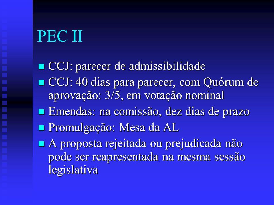 PEC II CCJ: parecer de admissibilidade CCJ: parecer de admissibilidade CCJ: 40 dias para parecer, com Quórum de aprovação: 3/5, em votação nominal CCJ: 40 dias para parecer, com Quórum de aprovação: 3/5, em votação nominal Emendas: na comissão, dez dias de prazo Emendas: na comissão, dez dias de prazo Promulgação: Mesa da AL Promulgação: Mesa da AL A proposta rejeitada ou prejudicada não pode ser reapresentada na mesma sessão legislativa A proposta rejeitada ou prejudicada não pode ser reapresentada na mesma sessão legislativa