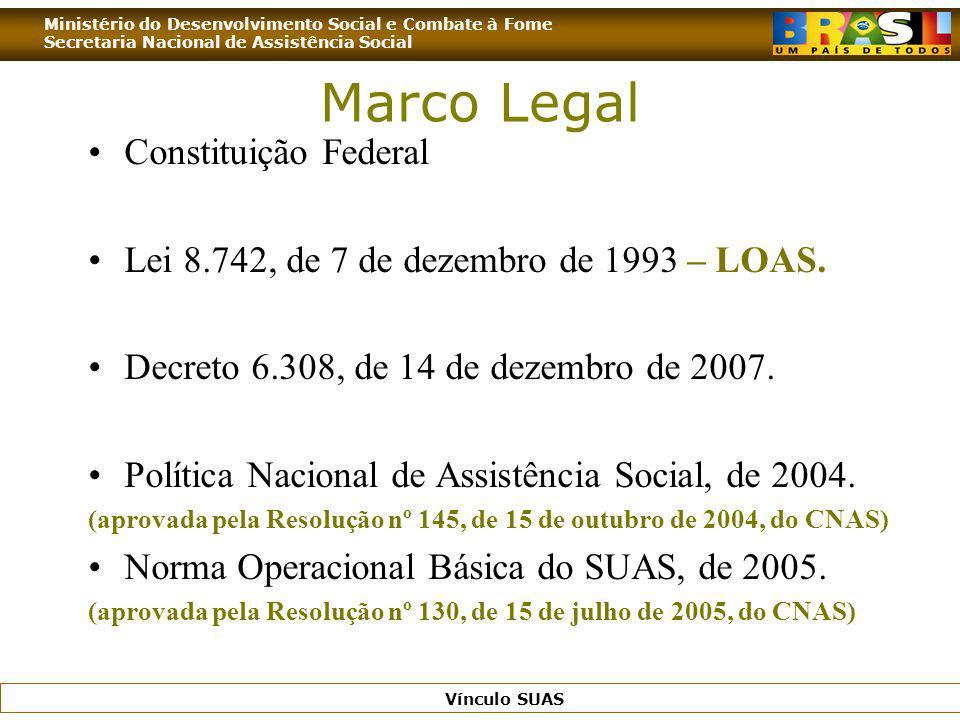 Ministério do Desenvolvimento Social e Combate à Fome Secretaria Nacional de Assistência Social Vínculo SUAS Marco Legal Constituição Federal Lei 8.74