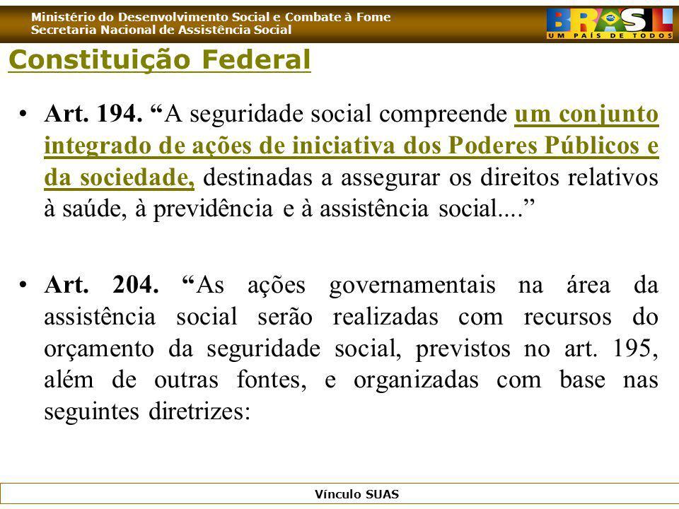 Ministério do Desenvolvimento Social e Combate à Fome Secretaria Nacional de Assistência Social Vínculo SUAS Art. 194. A seguridade social compreende