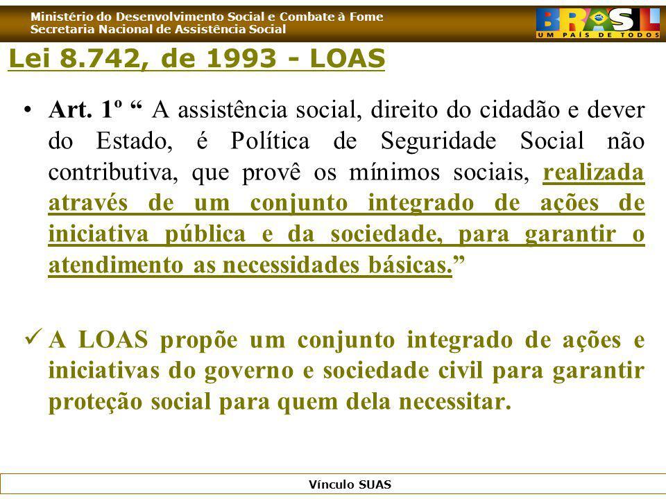 Ministério do Desenvolvimento Social e Combate à Fome Secretaria Nacional de Assistência Social Vínculo SUAS Art. 1º A assistência social, direito do