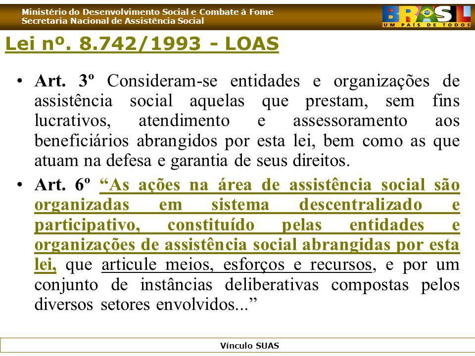 Ministério do Desenvolvimento Social e Combate à Fome Secretaria Nacional de Assistência Social Vínculo SUAS Lei nº. 8.742/1993 - LOAS Art. 3º Conside