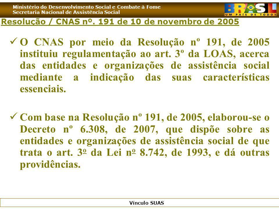 Ministério do Desenvolvimento Social e Combate à Fome Secretaria Nacional de Assistência Social Vínculo SUAS Resolução / CNAS nº. 191 de 10 de novembr