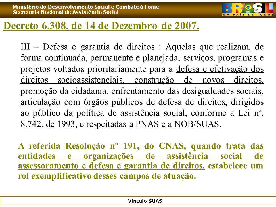 Ministério do Desenvolvimento Social e Combate à Fome Secretaria Nacional de Assistência Social Vínculo SUAS III – Defesa e garantia de direitos : Aqu