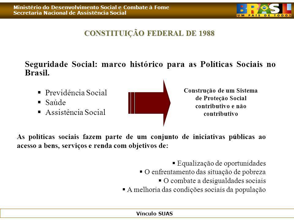 Ministério do Desenvolvimento Social e Combate à Fome Secretaria Nacional de Assistência Social Vínculo SUAS CONSTITUIÇÃO FEDERAL DE 1988 Seguridade S
