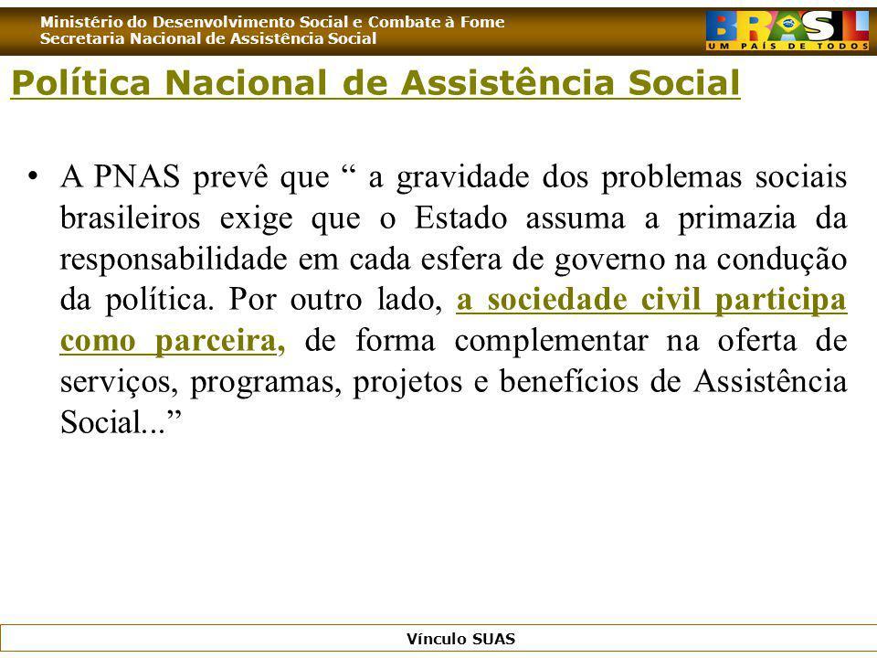 Ministério do Desenvolvimento Social e Combate à Fome Secretaria Nacional de Assistência Social Vínculo SUAS A PNAS prevê que a gravidade dos problema