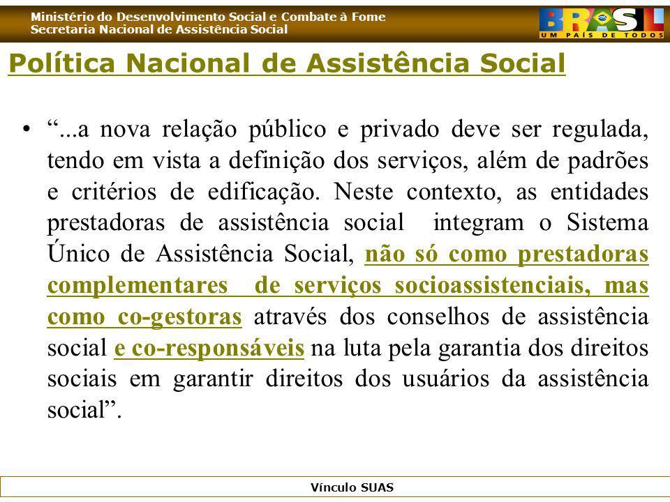 Ministério do Desenvolvimento Social e Combate à Fome Secretaria Nacional de Assistência Social Vínculo SUAS...a nova relação público e privado deve s