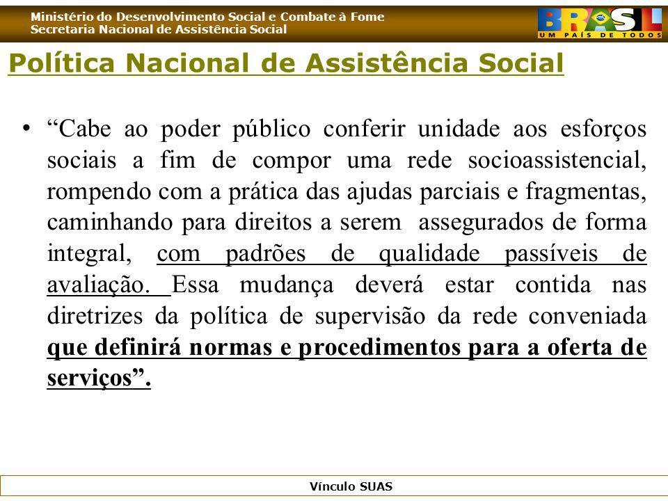 Ministério do Desenvolvimento Social e Combate à Fome Secretaria Nacional de Assistência Social Vínculo SUAS Cabe ao poder público conferir unidade ao