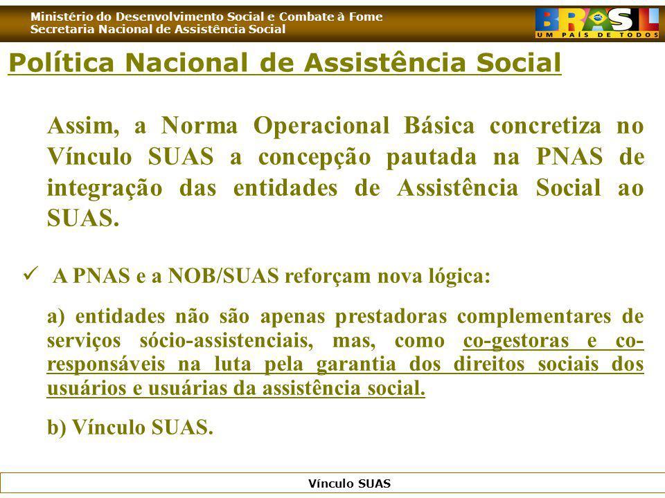 Ministério do Desenvolvimento Social e Combate à Fome Secretaria Nacional de Assistência Social Vínculo SUAS Assim, a Norma Operacional Básica concret