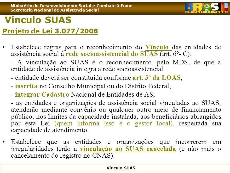 Ministério do Desenvolvimento Social e Combate à Fome Secretaria Nacional de Assistência Social Vínculo SUAS Projeto de Lei 3.077/2008 Estabelece regr