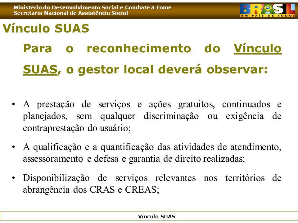 Ministério do Desenvolvimento Social e Combate à Fome Secretaria Nacional de Assistência Social Vínculo SUAS Para o reconhecimento do Vínculo SUAS, o