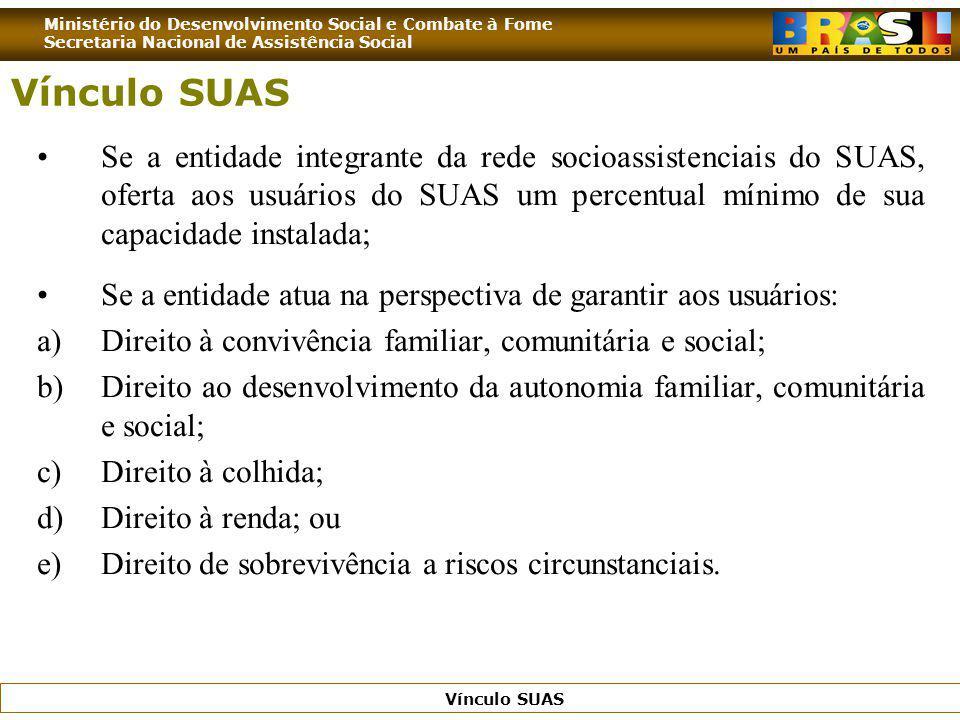 Ministério do Desenvolvimento Social e Combate à Fome Secretaria Nacional de Assistência Social Vínculo SUAS Se a entidade integrante da rede socioass