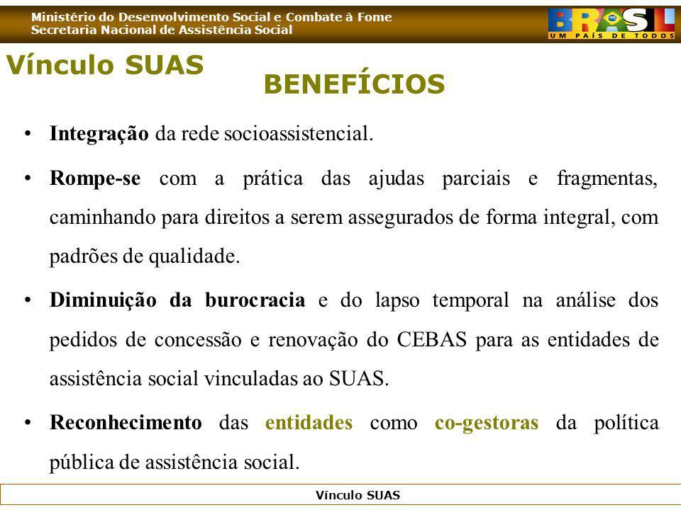 Ministério do Desenvolvimento Social e Combate à Fome Secretaria Nacional de Assistência Social Vínculo SUAS BENEFÍCIOS Integração da rede socioassist