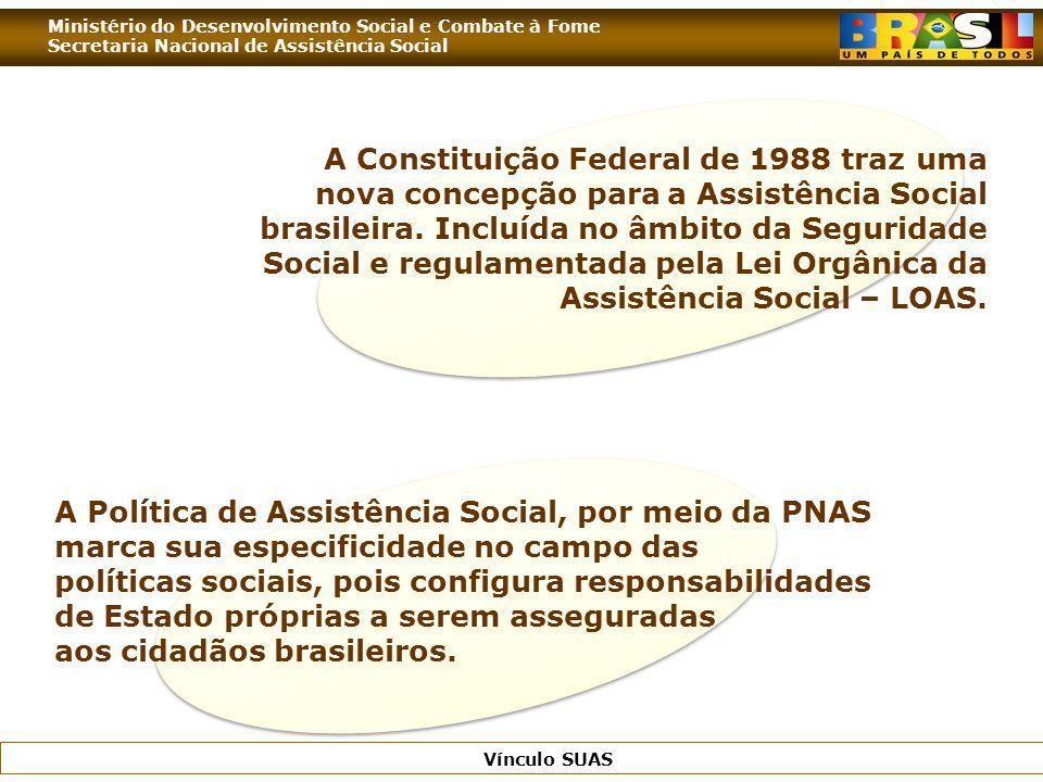 Ministério do Desenvolvimento Social e Combate à Fome Secretaria Nacional de Assistência Social Vínculo SUAS A Constituição Federal de 1988 traz uma n