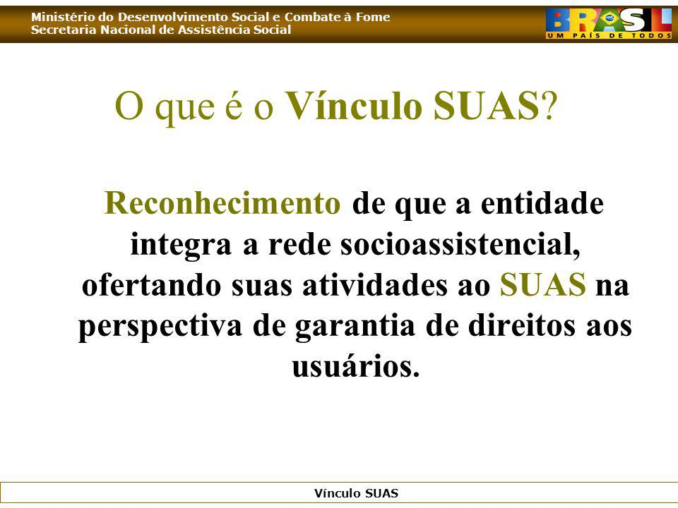 Ministério do Desenvolvimento Social e Combate à Fome Secretaria Nacional de Assistência Social Vínculo SUAS O que é o Vínculo SUAS? Reconhecimento de