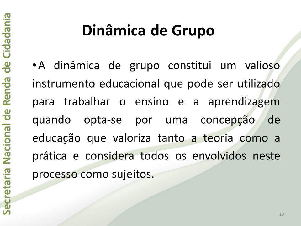 Secretaria Nacional de Renda de Cidadania Secretaria Nacional de Renda de Cidadania Dinâmica de Grupo A dinâmica de grupo constitui um valioso instrum