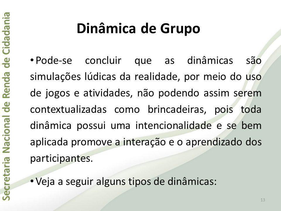 Secretaria Nacional de Renda de Cidadania Secretaria Nacional de Renda de Cidadania Dinâmica de Grupo Pode-se concluir que as dinâmicas são simulações