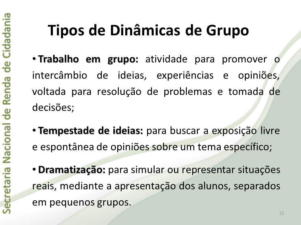 Secretaria Nacional de Renda de Cidadania Secretaria Nacional de Renda de Cidadania Tipos de Dinâmicas de Grupo Trabalho em grupo: Trabalho em grupo: