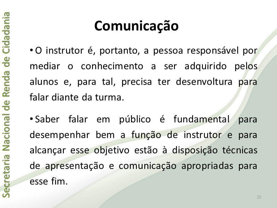 Secretaria Nacional de Renda de Cidadania Secretaria Nacional de Renda de Cidadania Comunicação O instrutor é, portanto, a pessoa responsável por medi
