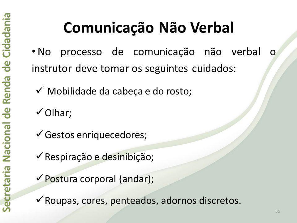 Secretaria Nacional de Renda de Cidadania Secretaria Nacional de Renda de Cidadania Comunicação Não Verbal No processo de comunicação não verbal o ins