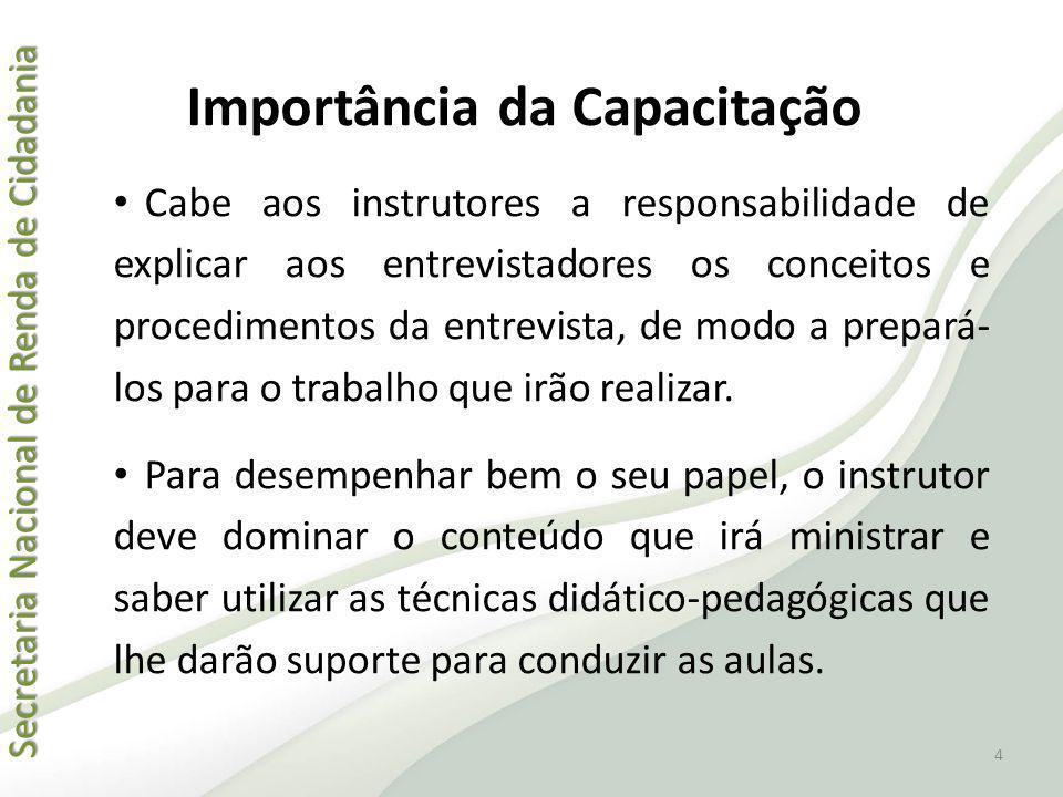 Secretaria Nacional de Renda de Cidadania Secretaria Nacional de Renda de Cidadania Importância da Capacitação Cabe aos instrutores a responsabilidade