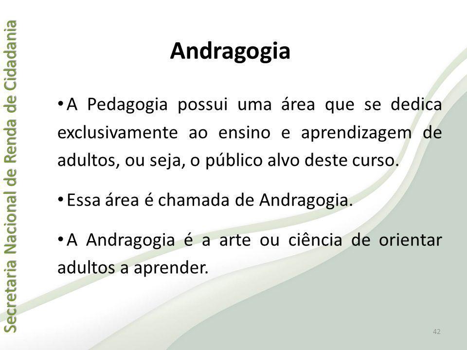 Secretaria Nacional de Renda de Cidadania Secretaria Nacional de Renda de Cidadania Andragogia A Pedagogia possui uma área que se dedica exclusivament