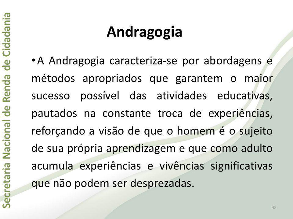 Secretaria Nacional de Renda de Cidadania Secretaria Nacional de Renda de Cidadania Andragogia A Andragogia caracteriza-se por abordagens e métodos ap
