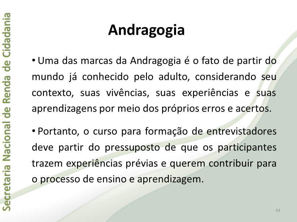 Secretaria Nacional de Renda de Cidadania Secretaria Nacional de Renda de Cidadania Andragogia Uma das marcas da Andragogia é o fato de partir do mund