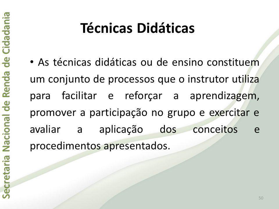 Secretaria Nacional de Renda de Cidadania Secretaria Nacional de Renda de Cidadania Técnicas Didáticas As técnicas didáticas ou de ensino constituem u